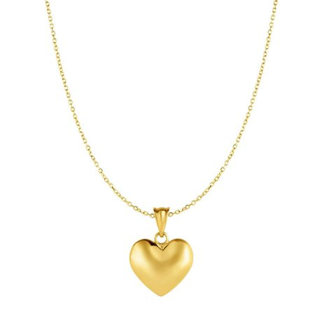 10k Yellow Gold Heart Pendant 10kt Gold Yellow 0.8mm Diam-cut Cable Chain Necklace - 18