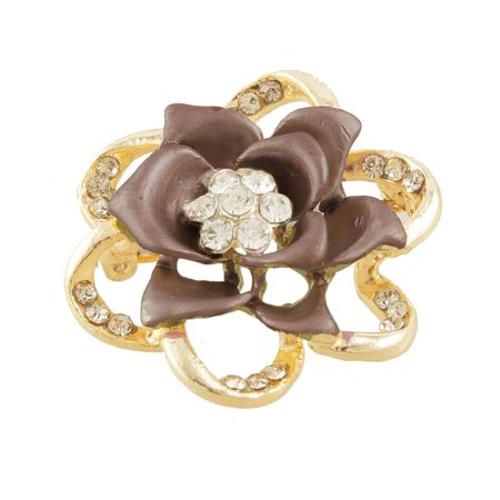 Lady Brown Metal Floral Rhinestone Inlaid  Pin Brooch