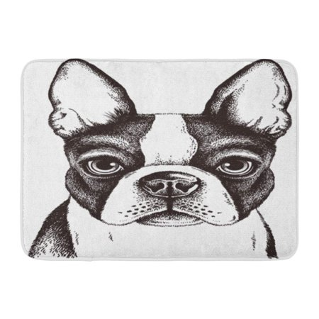 - SIDONKU Black and White Sketch of Fawn Boston Terrier Face Dog Puppy Cute Doormat Floor Rug Bath Mat 23.6x15.7 inch