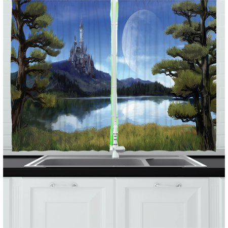 Fantasy Curtains 2 Panels Set, Moon Surreal Scene with Riverside Lake Forest and Medieval Castle on Hill Art, Window Drapes for Living Room Bedroom, 55W X 39L Inches, Green and Blue, by (Notting Hill Best Scene)