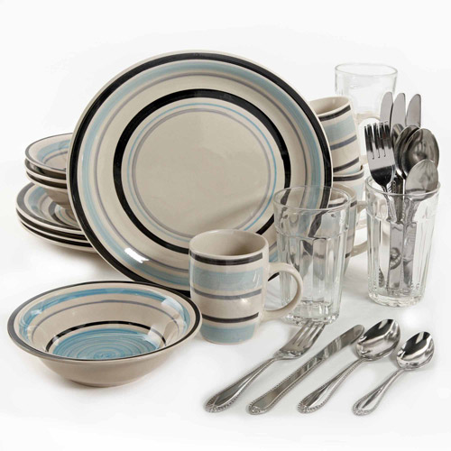 Gibson Home 32-Piece Cannon Blue Dinnerware Combo Set, Banded