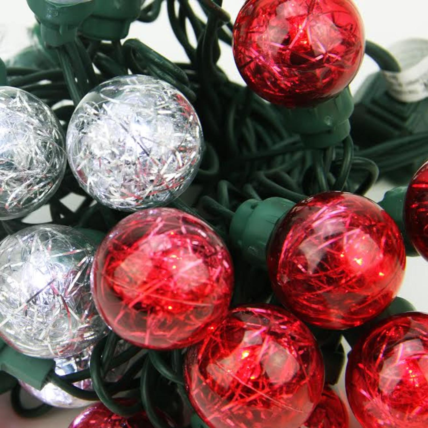 Set of 25 Red and Pure White Tinsel Wide Angle LED G30 Globe ...