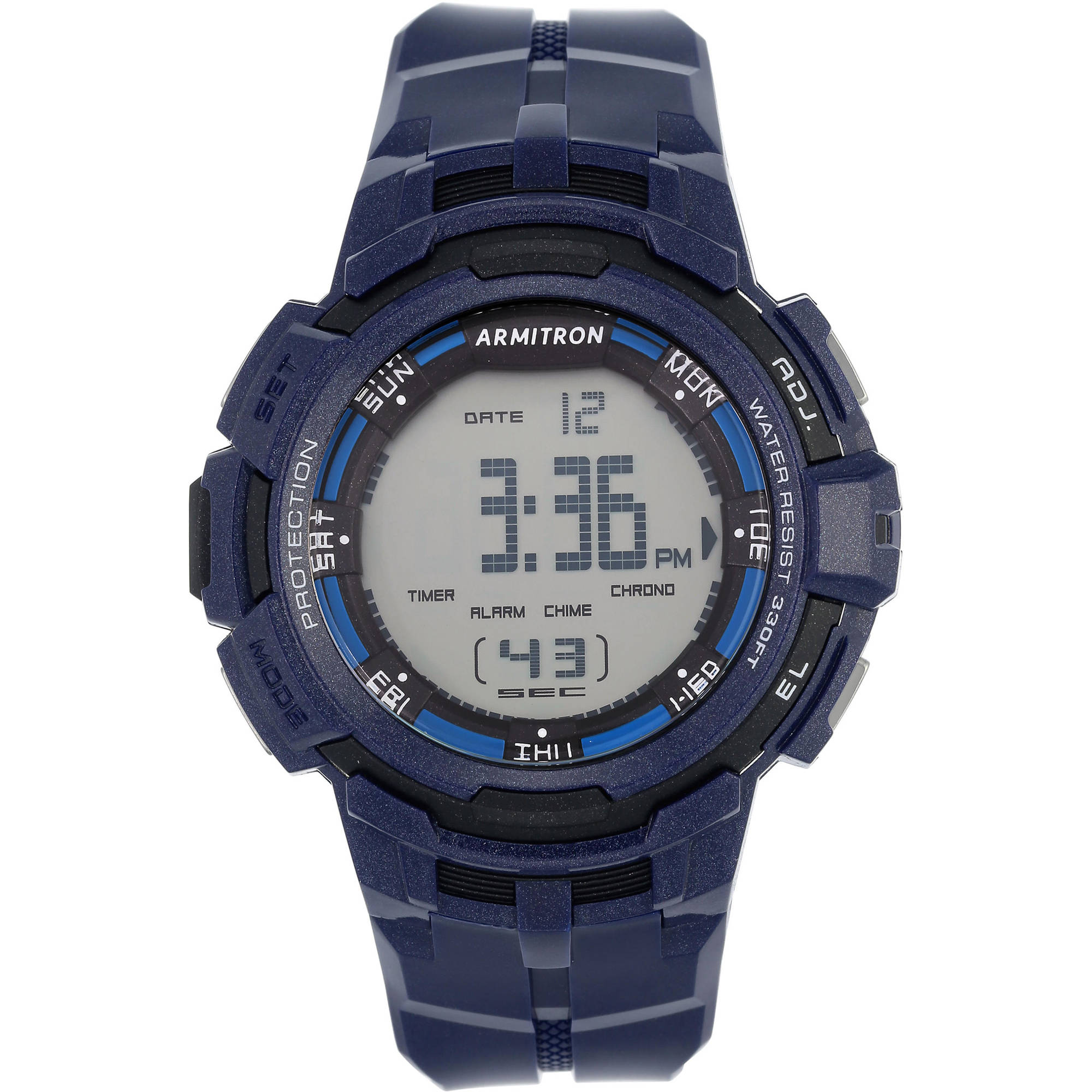 Armitron Men's Round Navy Sports Watch with Resin Band