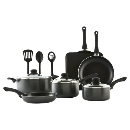 IMUSA USA 12-Piece Hammered Charcoal Cookware Set with Bakelite Handles ()