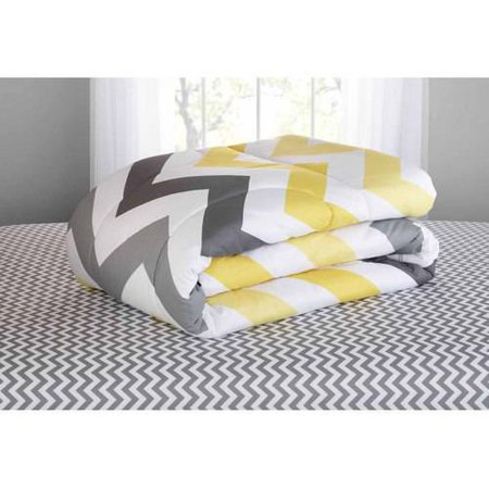 Mainstays Yellow Grey Chevron Bed In A Bag 6 Piece Bedding