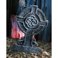 "22"" Mossy Celtic Cross Tombstone Halloween Decoration"