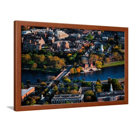 AERIAL VIEW of Cambridge and Anderson Memorial Bridge leading to Weld Boathouse, Harvard on Char... Framed Print Wall Art