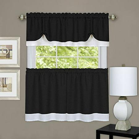 Achim Home Furnishings DRTV36BW12 Darcy Window Curtain Tier & Valance Set 58x36/58x14, Black & White - image 2 de 2