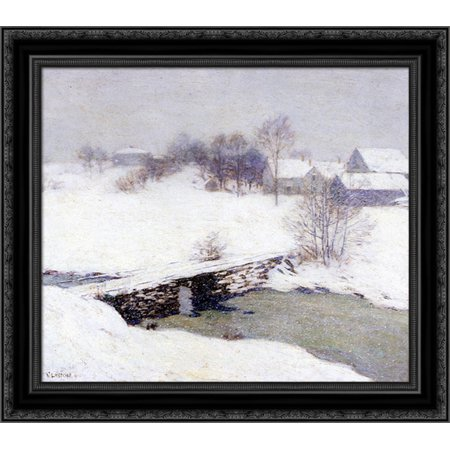The White Mantle 20x20 Black Ornate Wood Framed Canvas Art by Metcalf, Willard ()
