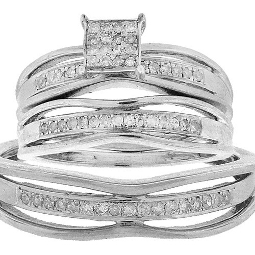 Sterling Silver 0.30CT Pave Round Cut Diamond Mens Annive...