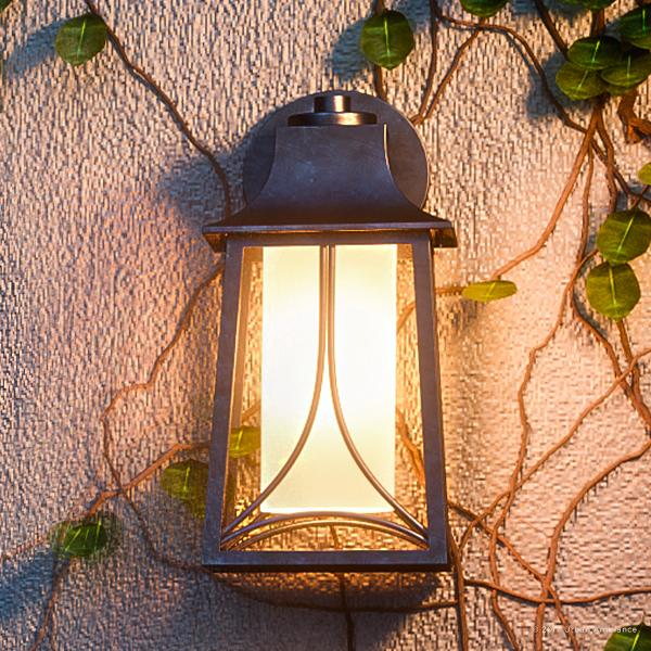 """Urban Ambiance Luxury Asian Outdoor Wall Light, Medium Size: 15""""H x 7.5""""W, with Craftsman Style Elements, Airy and Simplistic Design, Beautiful Royal Bronze Finish and Light Amber Glass, UQL1081"""