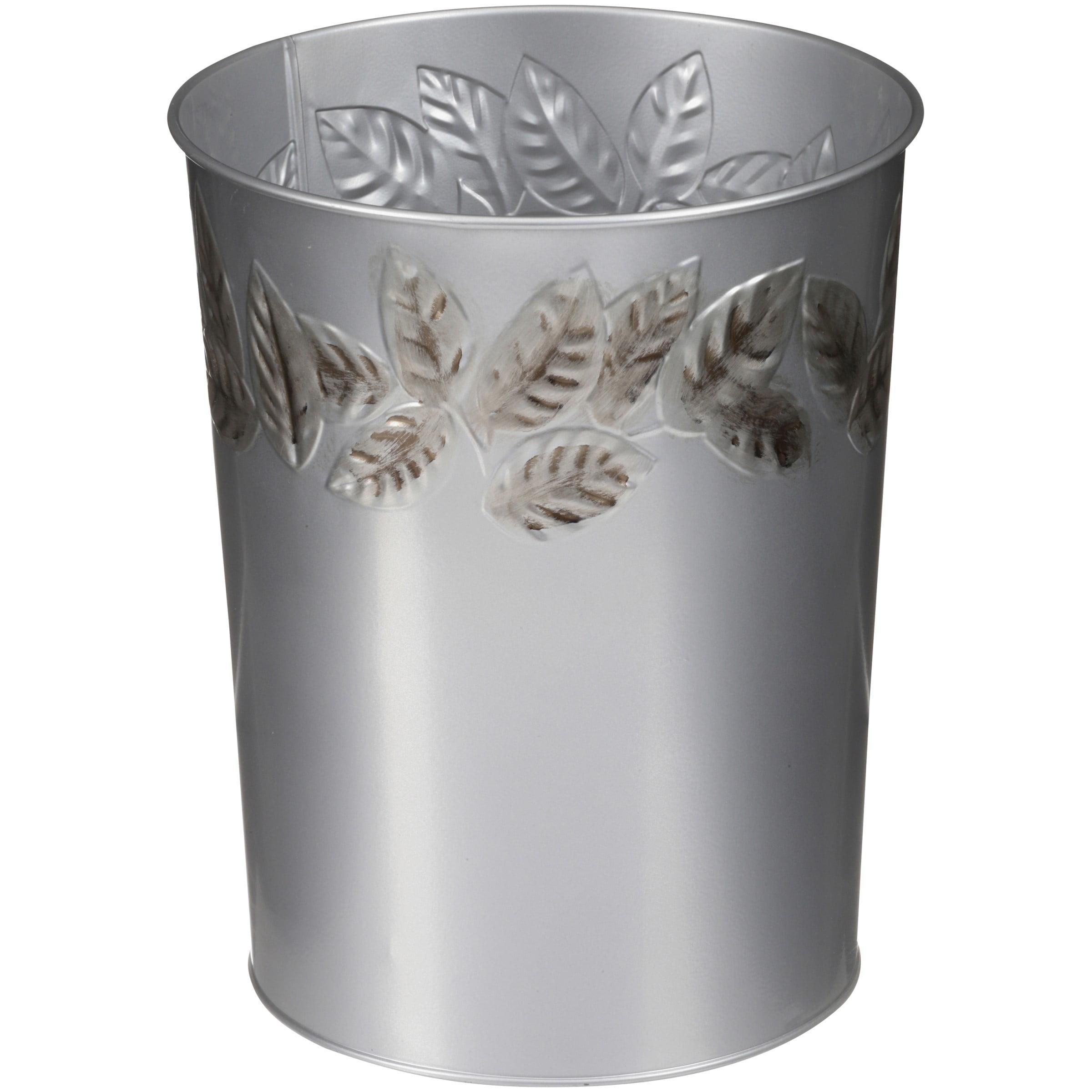 Mainstays Silver Leaves Wastebasket, 1 Each