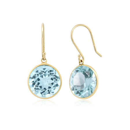14.00 Ct Blue Topaz Gemstone Birthstone Round Cut Solid 14K Yellow Gold Earrings - image 1 de 1