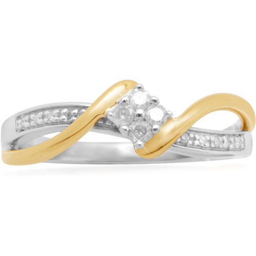 Diamond Accent 18kt Yellow Gold over Sterling Silver Engagement Ring