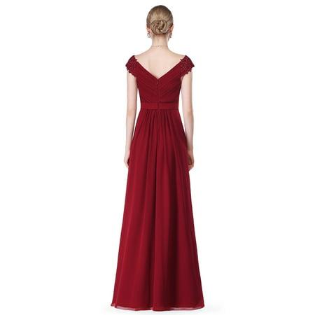 06e3c2b9eac9 Ever-Pretty - Ever-Pretty Women's Long A-Line Lace Neckline Evening Prom  Cocktail Gala Party Dresses for Women 08633 Burgundy 8 US - Walmart.com