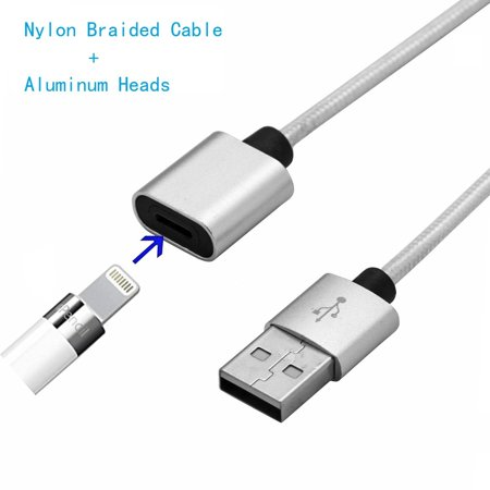 Apple Pencil Charger Cable, Apple Pencil Charging Adapter Charger Charging Cable Metal Heads USB Charger Adapter Cable for iPad Pro Male to Female Cord [Aluminum Heads + Nylon Cable] (3 Ft / 1 Meter) (Apple Ipad Charger Cord 10 Ft)