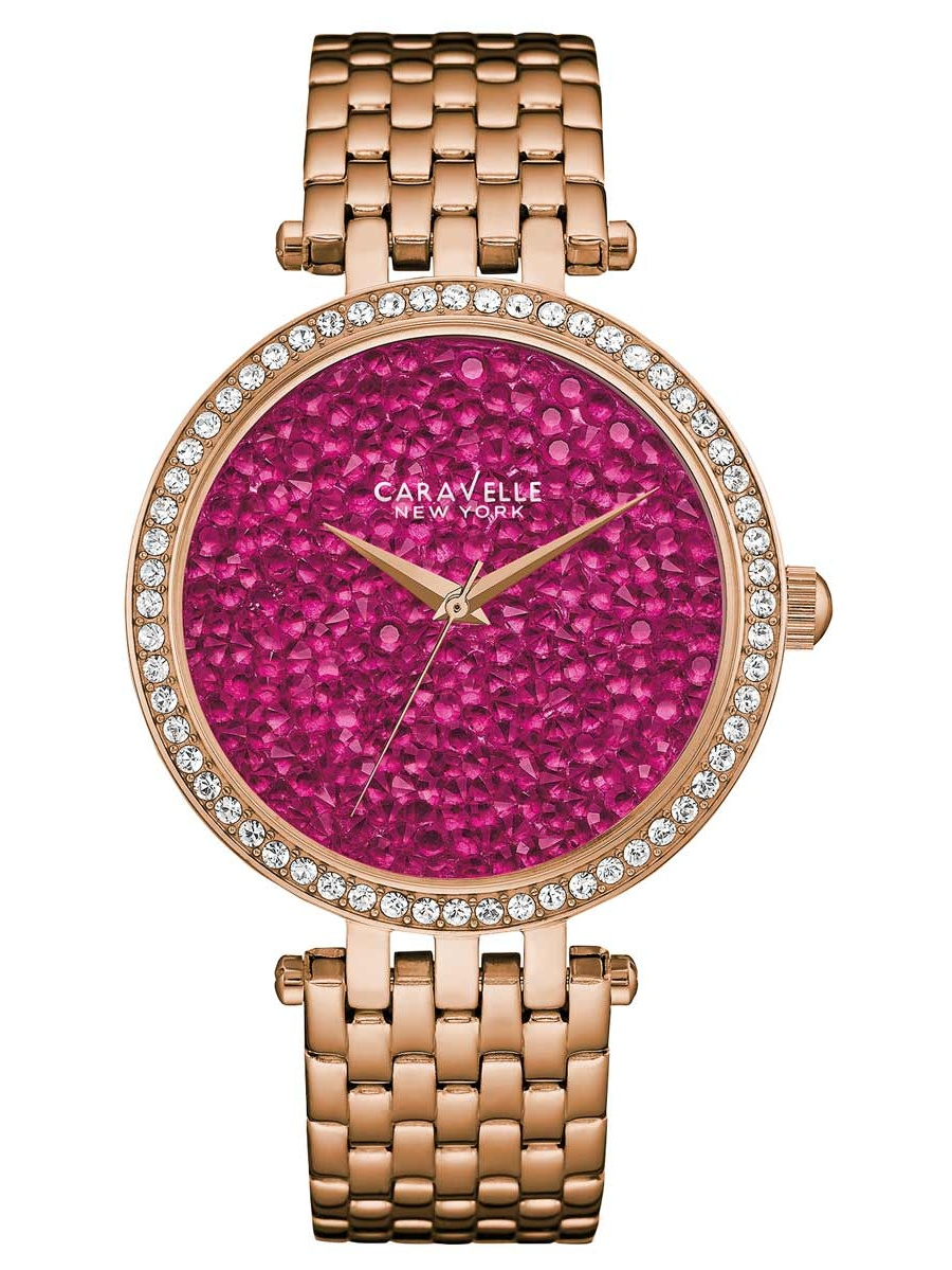 Caravelle 44L221 Women's Crystal Fashion Berry Rock Crystal Dial Rose Gold Steel Watch