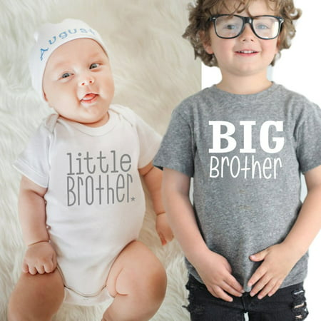 98a543b9 Upgrade Baby Boys Girls T-shirt Solid Big Brother Printed Short Sleeve  Pullover Tops Grey ...