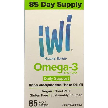 Plant Based Omega 3 - iWi Algae Based Omega-3 EPA+DHA Softgels, 85 Ct