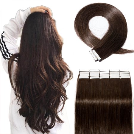 S-noilite Hair Human Hair Tape in Hair Extensions Brazilian Virgin Hair Silky Straight Weave Full Head 20pcs Dark Brown,20