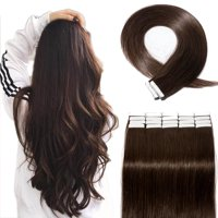 "S-noilite Hair Human Hair Tape in Hair Extensions Brazilian Virgin Hair Silky Straight Weave Full Head 20pcs Dark Brown,20 ""-50g"