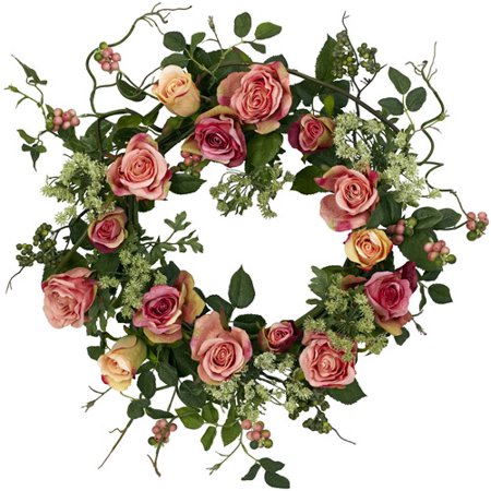 Nearly Natural Rose Wreath Floral Collection Rose