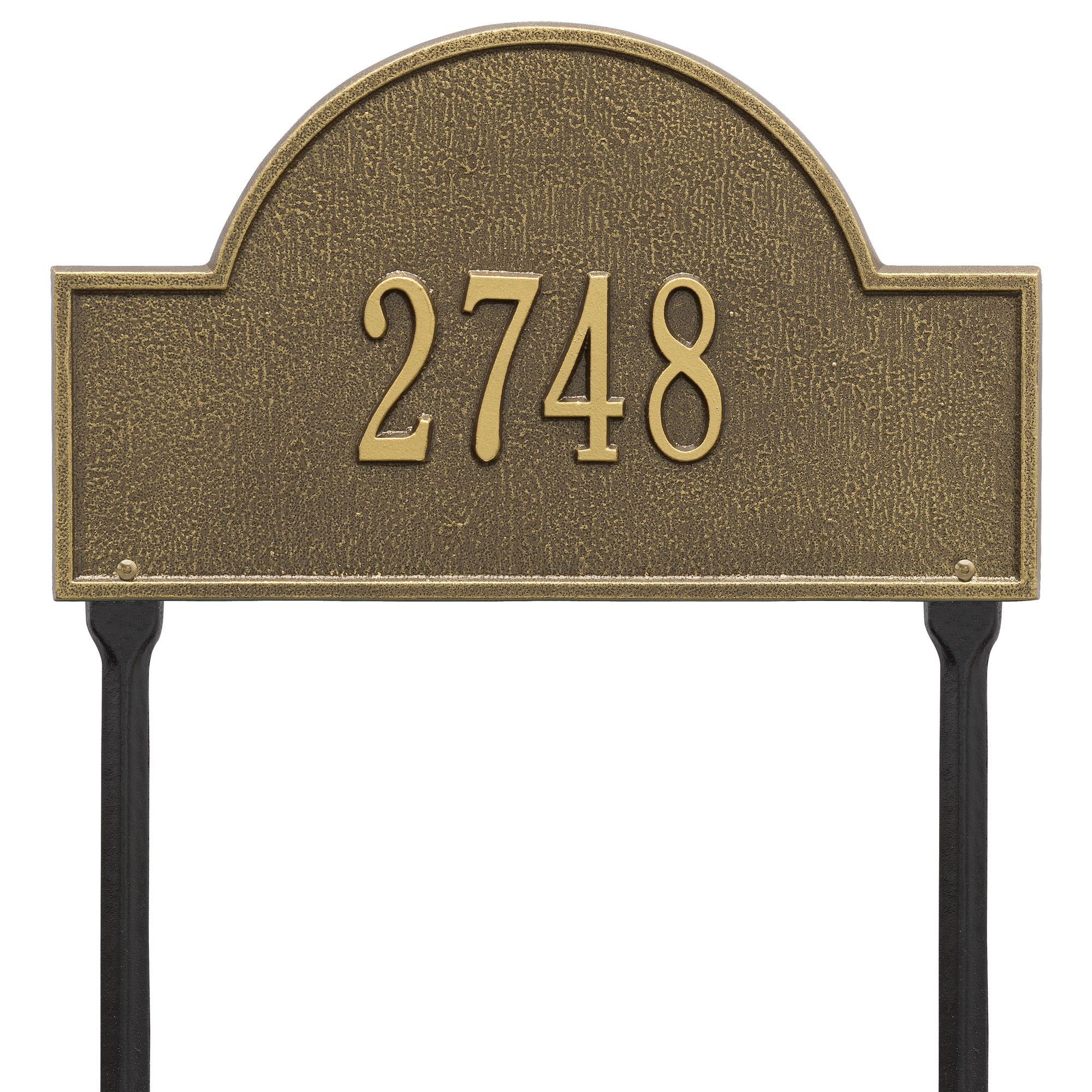 Personalized Whitehall Products 15-Inch Arch Marker Address Plaque in Antique Brass