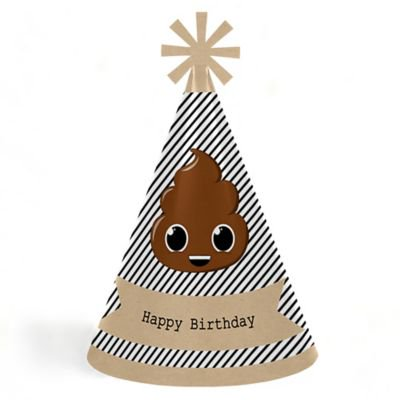 Party Hat Emoji (Party 'Til You're Pooped - Cone Poop Emoji Happy Birthday Party Hats for Kids and Adults - Set of 8 (Standard)