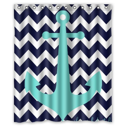 GreenDecor Navy Blue Chevron With Nautical Anchor Waterproof Shower Curtain Set with Hooks Bathroom Accessories Size 60x72 inches