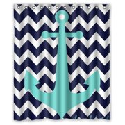 Greendecor Navy Blue Chevron With Nautical Anchor Waterproof Shower Curtain Set Hooks Bathroom Accessories Size