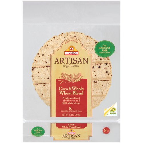 "Mission Artisan Style Corn & Whole Wheat Blend 6"" Tortillas, 8 ct"