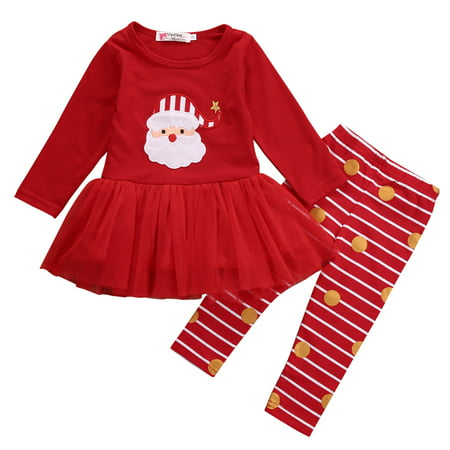 Christmas Outfits for Baby Girls Tutu Dress Shirt with Striped Pant Clothing Set 18-24 Months (Toddler Christmas Clothing)