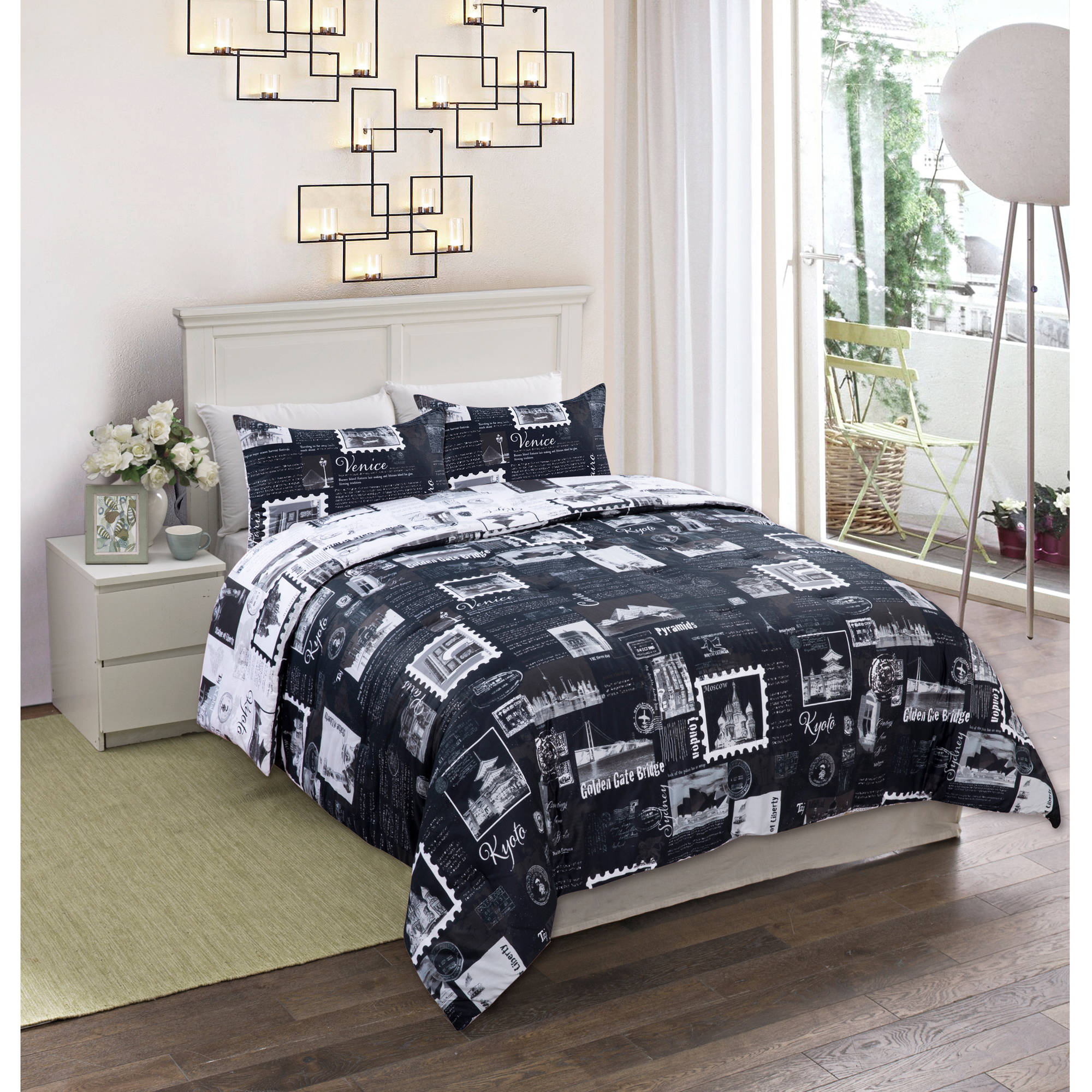 cotton comforter sets - world traveler reversible cotton bedding comforter mini set