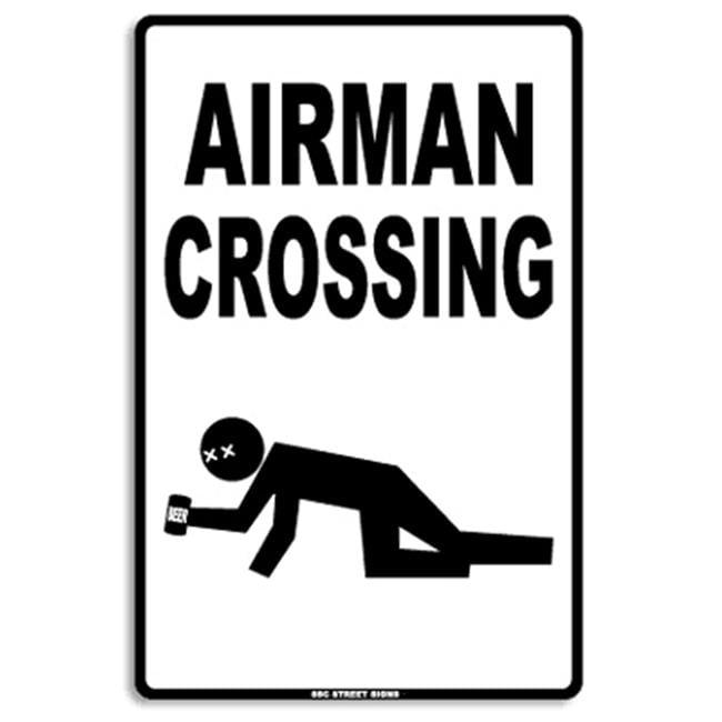 Seaweed Surf Co AA45 12X18 Aluminum Sign Airman Crossing