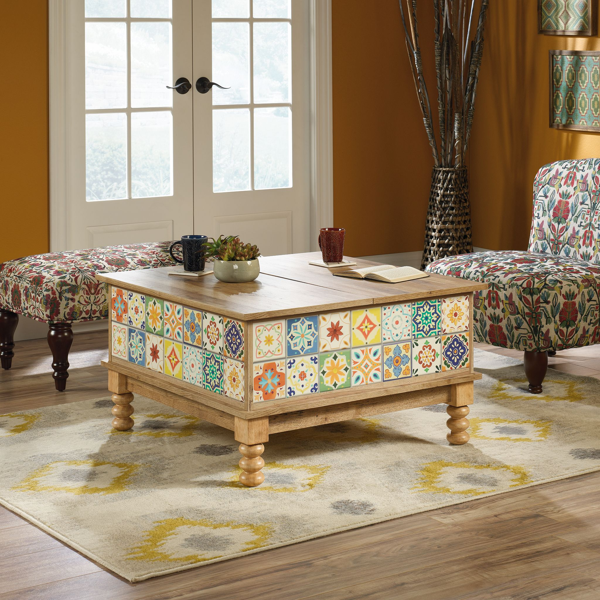 Sauder Viabella Lift-Top Coffee Table, Antigua Chestnut Finish