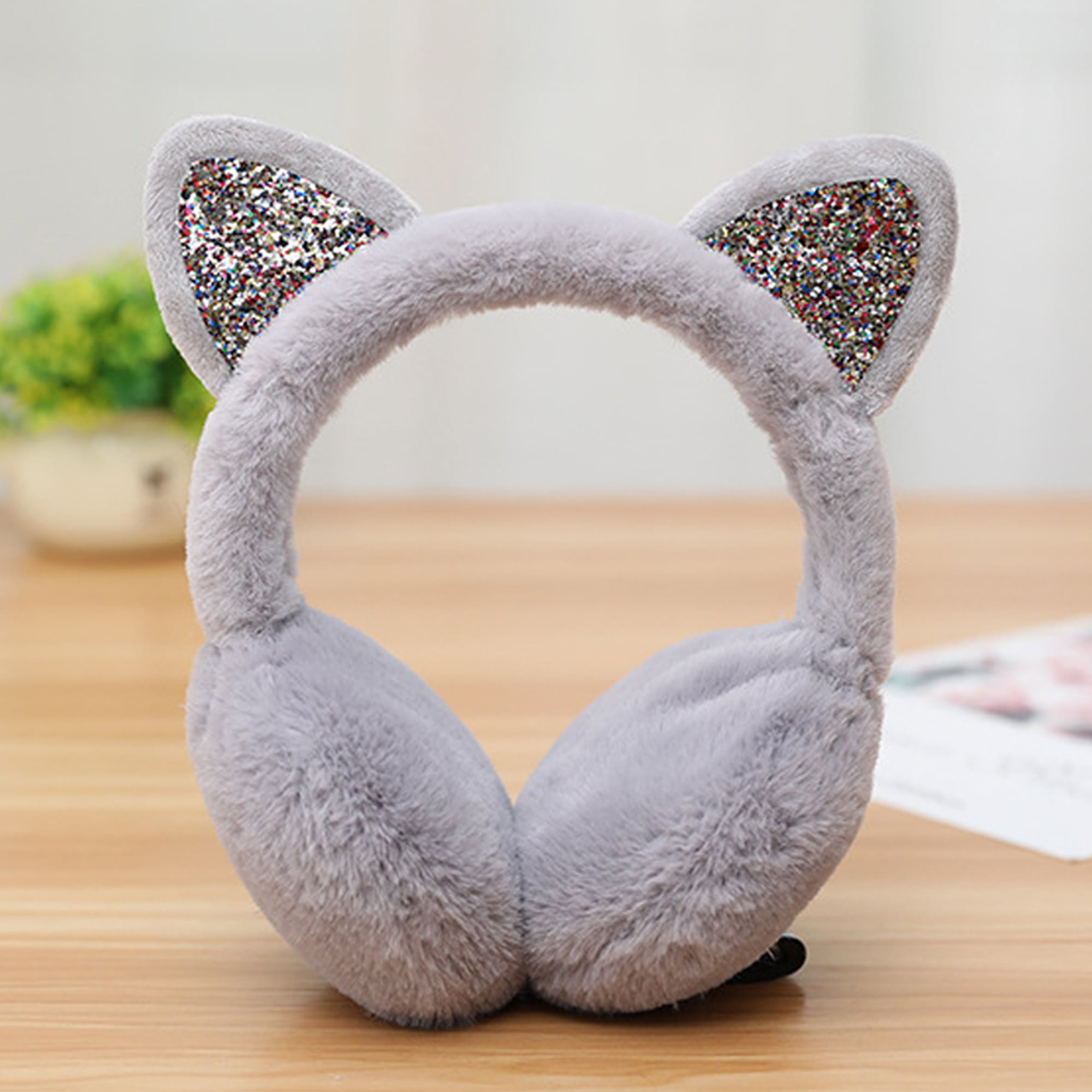 Women Cute Cat Ears Winter Warm Earmuffs Snow Outdoor Ear Warmers Headband