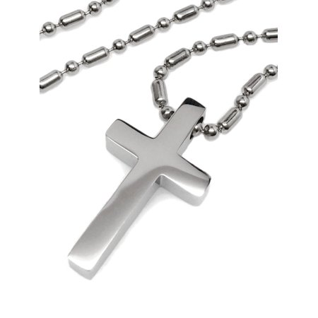 Mens Small Simple Stainless Steel Cross Religious Pendant Necklace on Steel Bead -