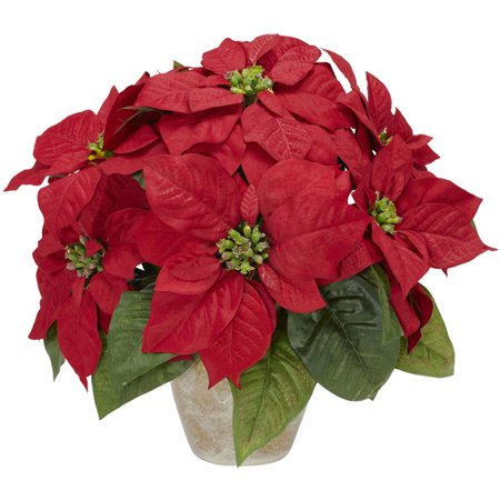 Nearly Natural Artificial Poinsettia with Ceramic Vase Silk Flower Arrangement