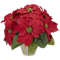 Artificial plants and flowers walmart product image nearly natural artificial poinsettia with ceramic vase silk flower arrangement mightylinksfo