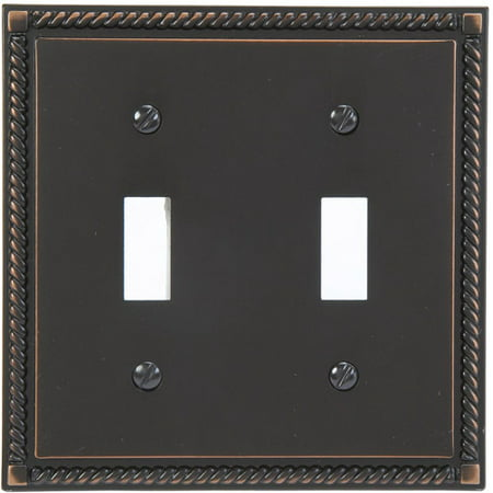 Georgian Cast Metal Double Toggle Light Switch Cover ()