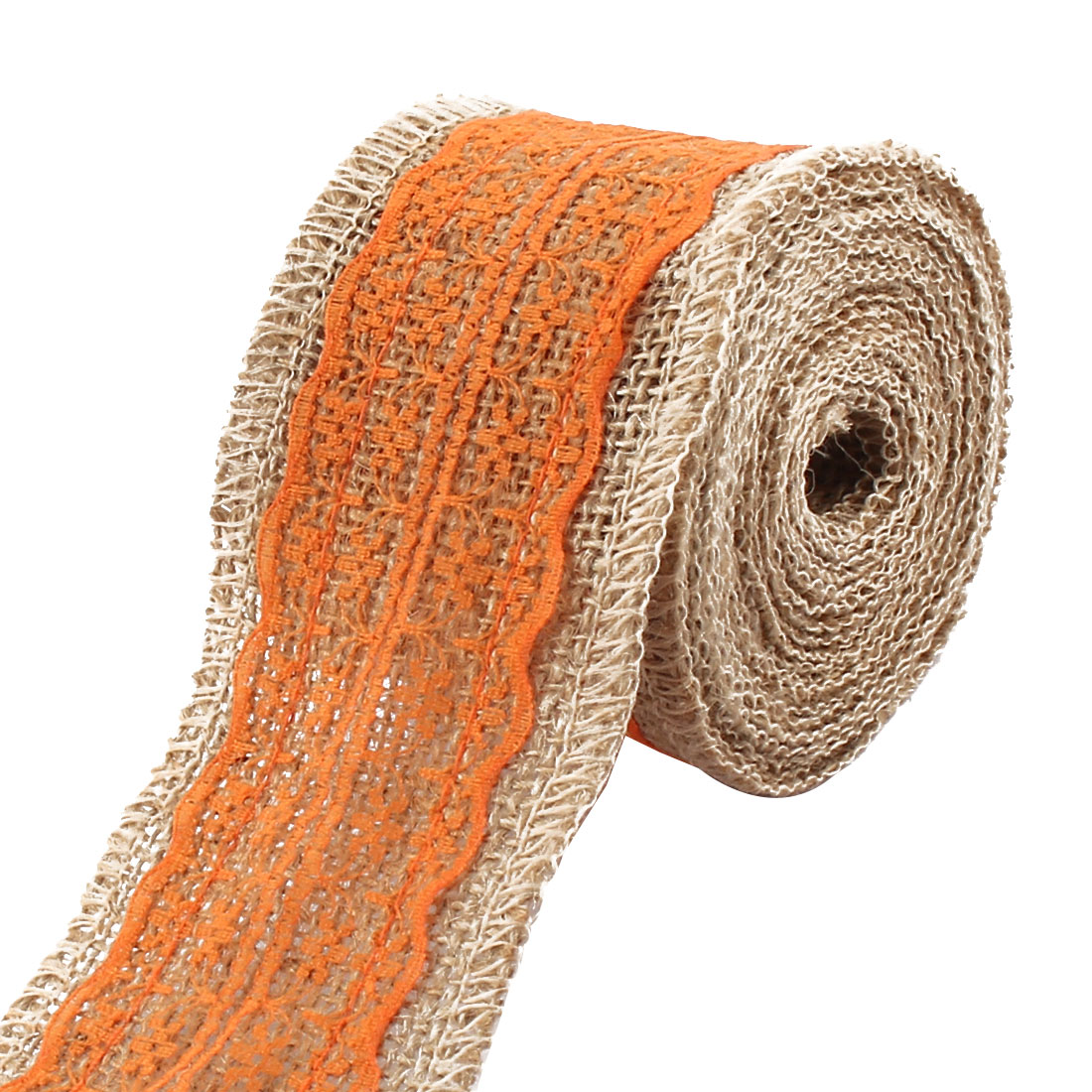 Unique Bargains Christmas Burlap DIY Gift Wrapping Packing Craft Ribbon Roll Tape Orange