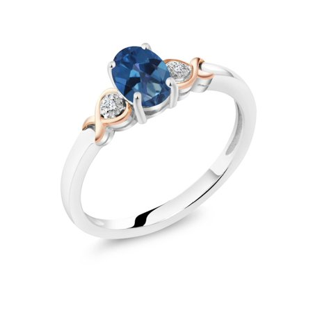925 Sterling Silver and 10K Rose Gold Ring Blue Mystic Topaz with Diamond Accent - image 3 of 3