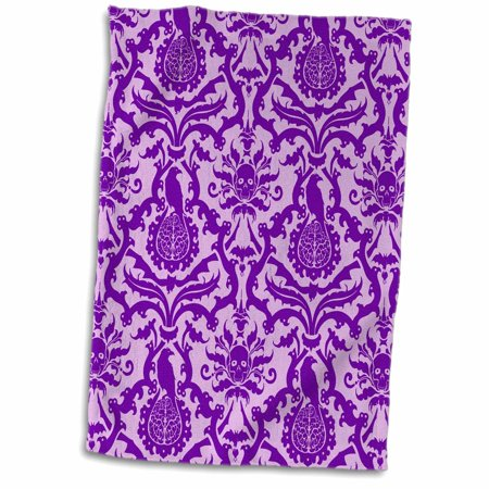 3dRose Gothic Horror Purple Zombie Damask Wallpaper Design - Towel, 15 by 22-inch - Zombie Towel