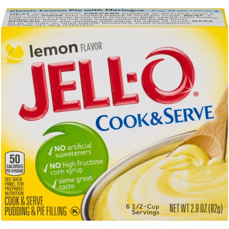 (3 Pack) Jell-O Cook & Serve Lemon Pudding & Pie Filling, 2.9 oz (No Bake Lemon Pie With Eagle Brand Milk)