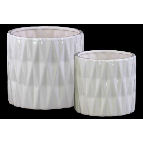 Urban Trends Ceramic Cylindrical 2 Piece Table Vase Set