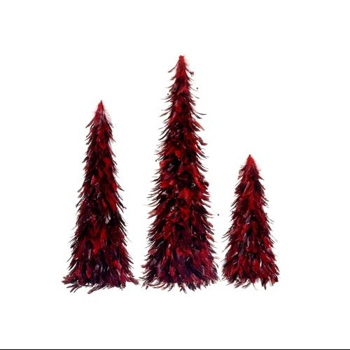 Set of 3 Red and Black Feather Christmas Cone Trees 30""