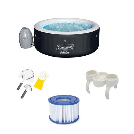 Bestway SaluSpa Hot Tub w/ Cleaning Set, Snack Tray, and Filter Pumps (6 (Best Way To Clean Bottles)