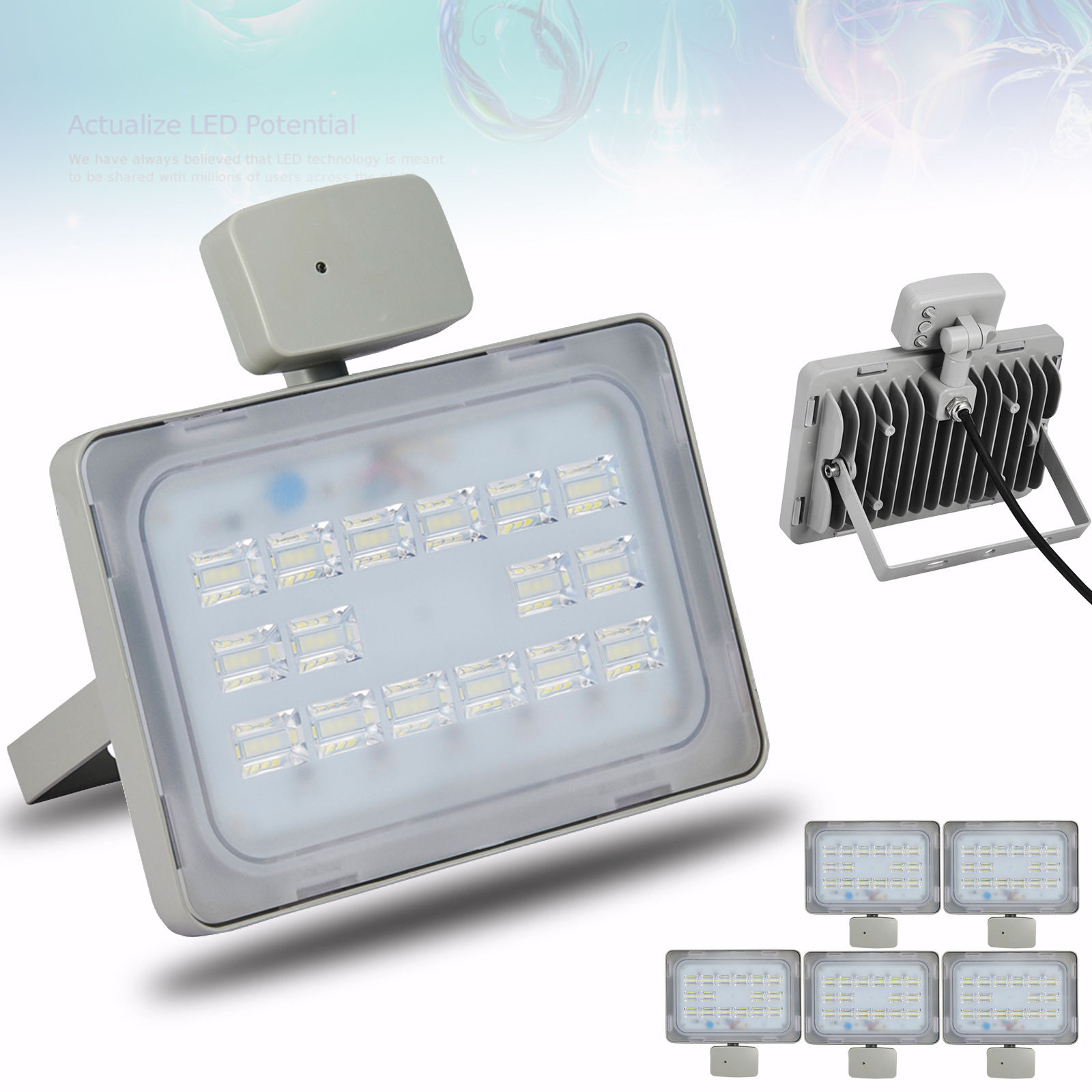 5X Viugreum 50W LED Floodlight Outdoor Garden Lamp Cool White, Microwave Sensor