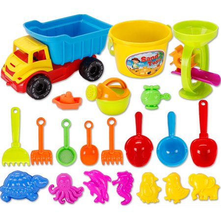21 Pieces Kids Children Beach Sand Toys Set Dune Buggy Sandglass Shower Head Hand-held Bucket Shovels Tool Models for Kids Beach Playing - Color Random - Sand Buckets