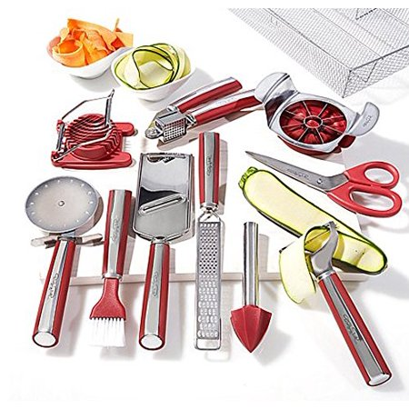 Wolfgang Puck 11-Piece Complete Kitchen Tool Kit Set ~ Red